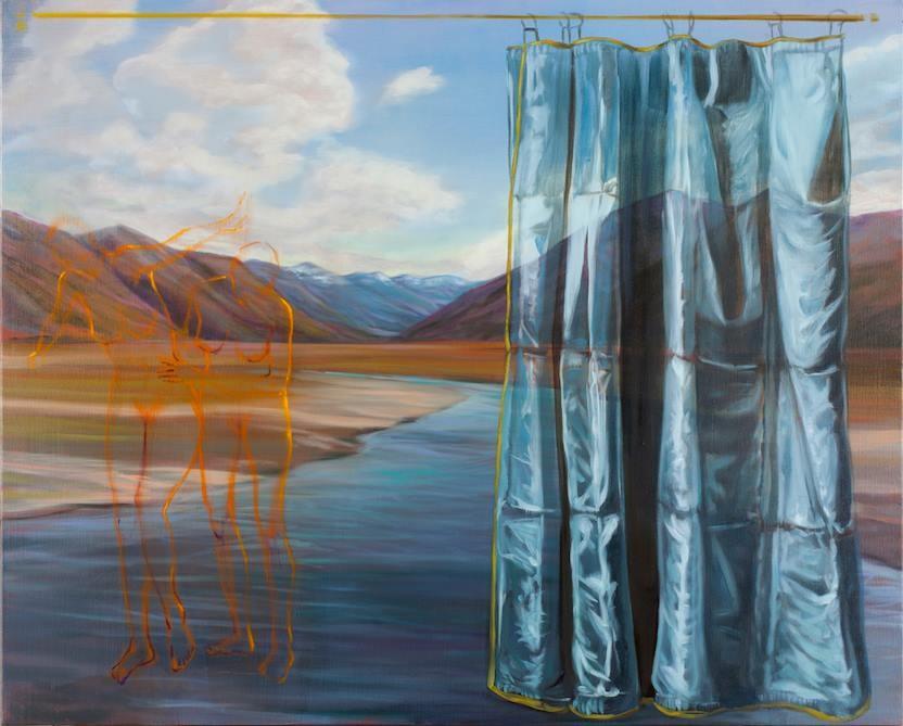 Baigneuses au bord de l'Ahurriri River. Huile sur toile - 90 x 110cm - 2017